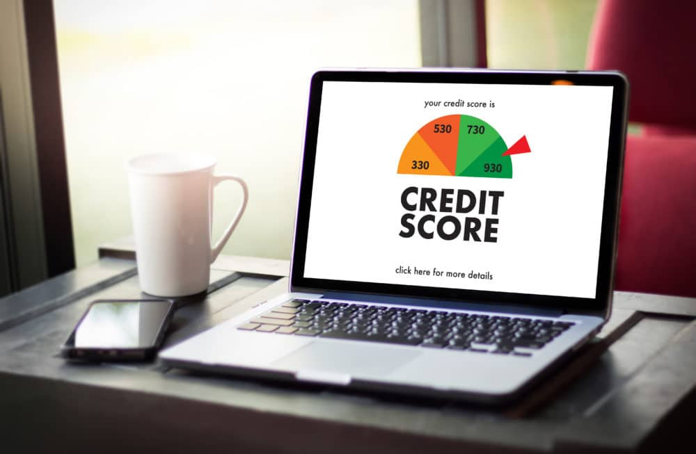 A credit score on a computer.