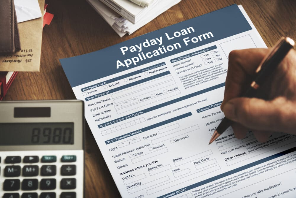 A payday loan application.
